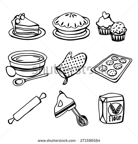 450x470 A Black And White Vector Illustration Baking Related Icons Like