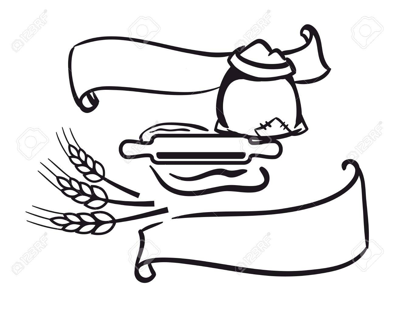 1300x1038 Vector Icons Of Sack Of Flour, Rolling Pin, Wheat And Ribbon