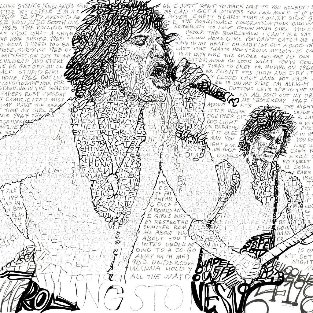 1024x1024 Rolling Stones Word Art Print