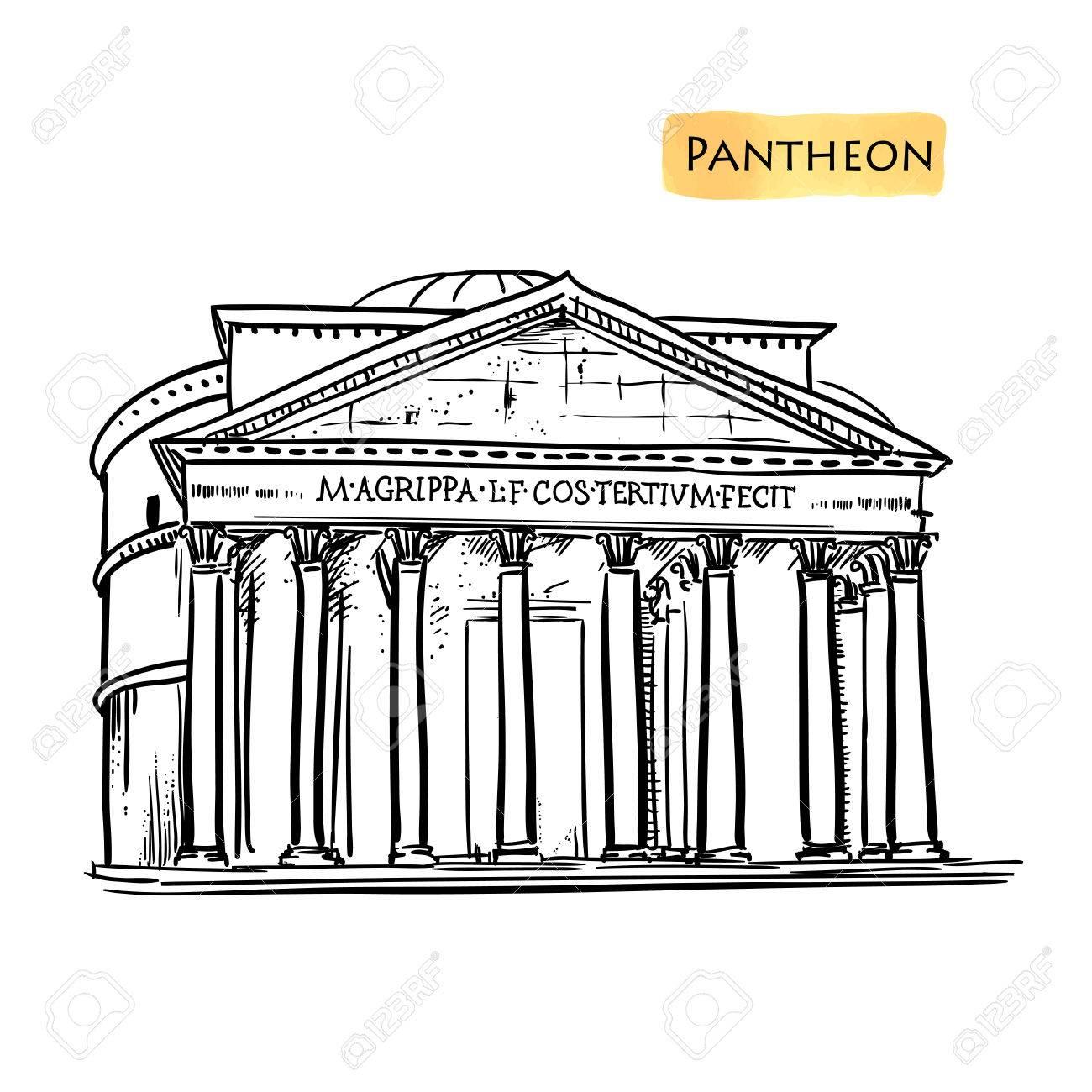 1300x1300 Rome Famous Building Hand Drawn Vector Illustration. Italian