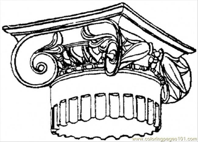 650x468 Top Of Roman Column Coloring Page