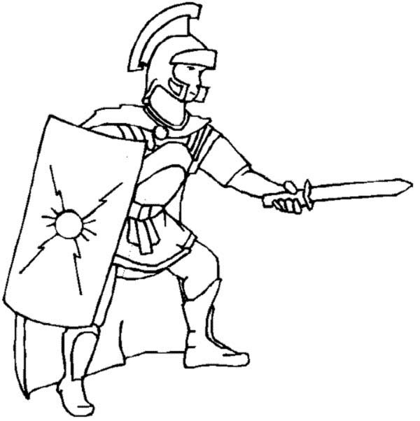 600x602 A Realistic Drawing Of Ancient Rome Legionnaires Coloring Page