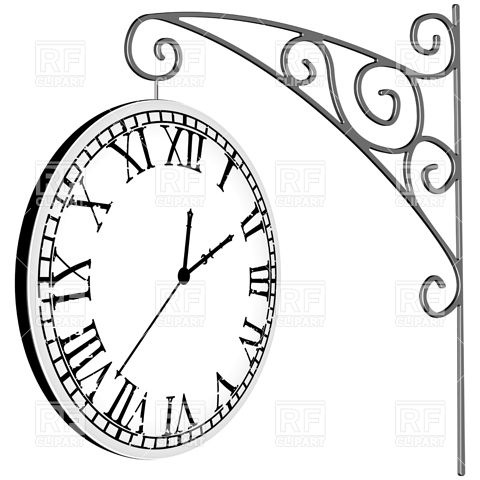 480x480 Hanged, Old Station Clock With Roman Numerals Royalty Free Vector