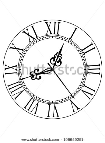 345x470 Old Black And White Clock Face With Roman Numerals And Ornate
