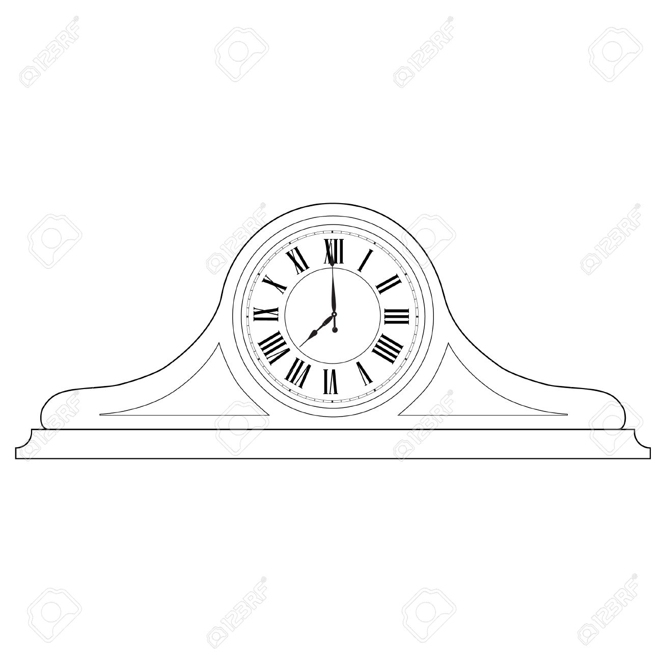 1300x1300 Outline Drawing Of Old Table Clock With Roman Numerals Vector