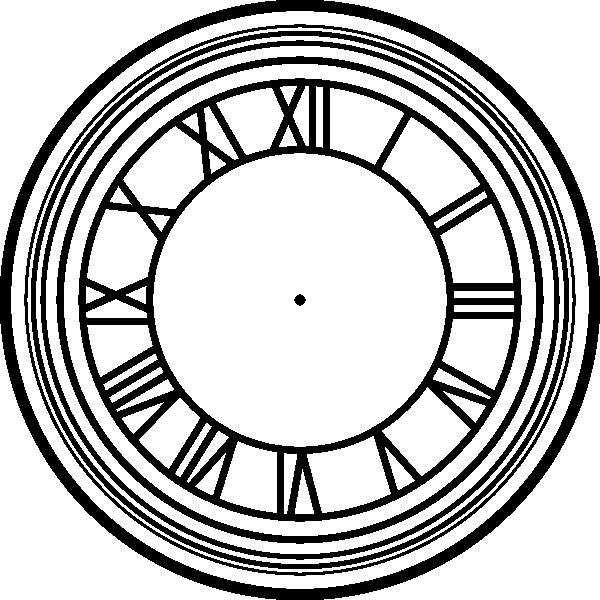 600x600 Roman Numeral Clock Face Clip Art
