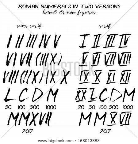 450x470 Set Roman Numerals Hand Drawn Vector Amp Photo Bigstock