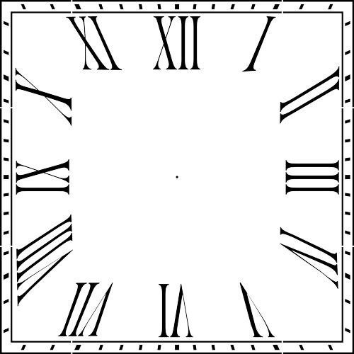 500x500 Square Roman Numeral 12 36 Clockface Wall Stencil (Choice Of Sizes)