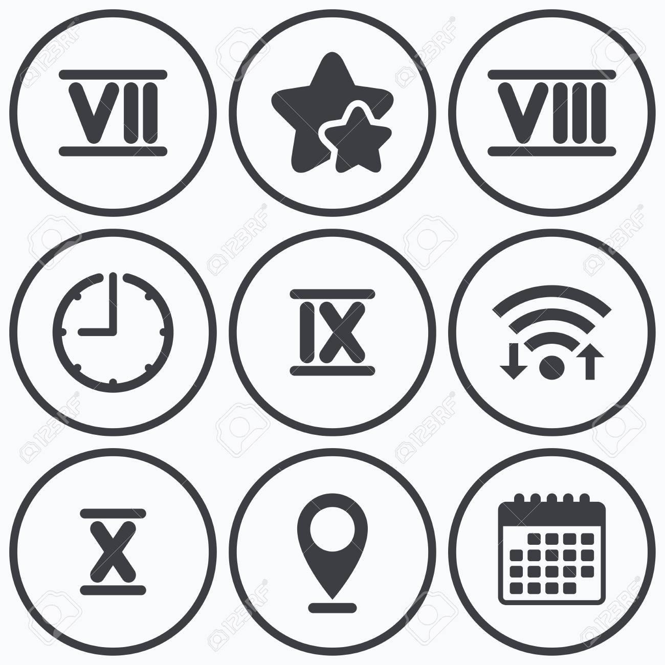 1300x1300 Clock, Wifi Stars Icons. Roman Numeral Icons. 7, 8, 9