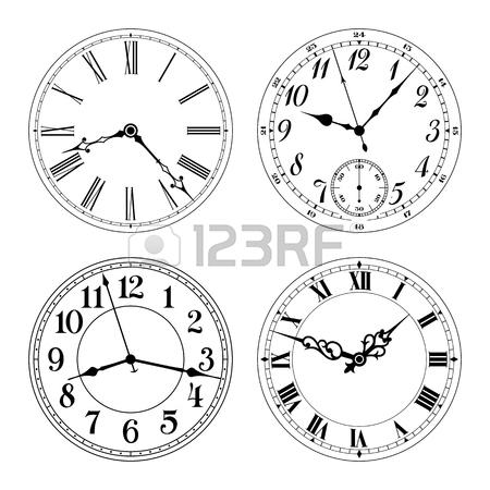 450x450 Editable Vector Clock Faces. Arabic And Roman Numerals. Round