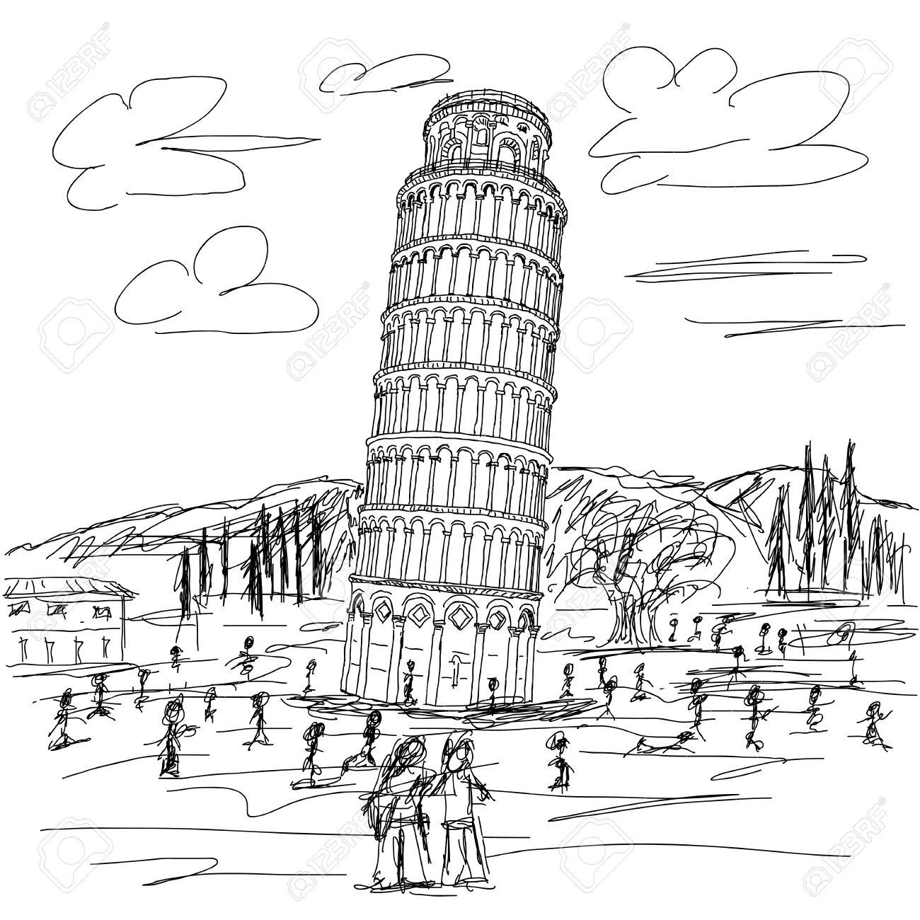 1300x1300 Hand Drawn Illustration Of Famous Tourist Destination Leaning