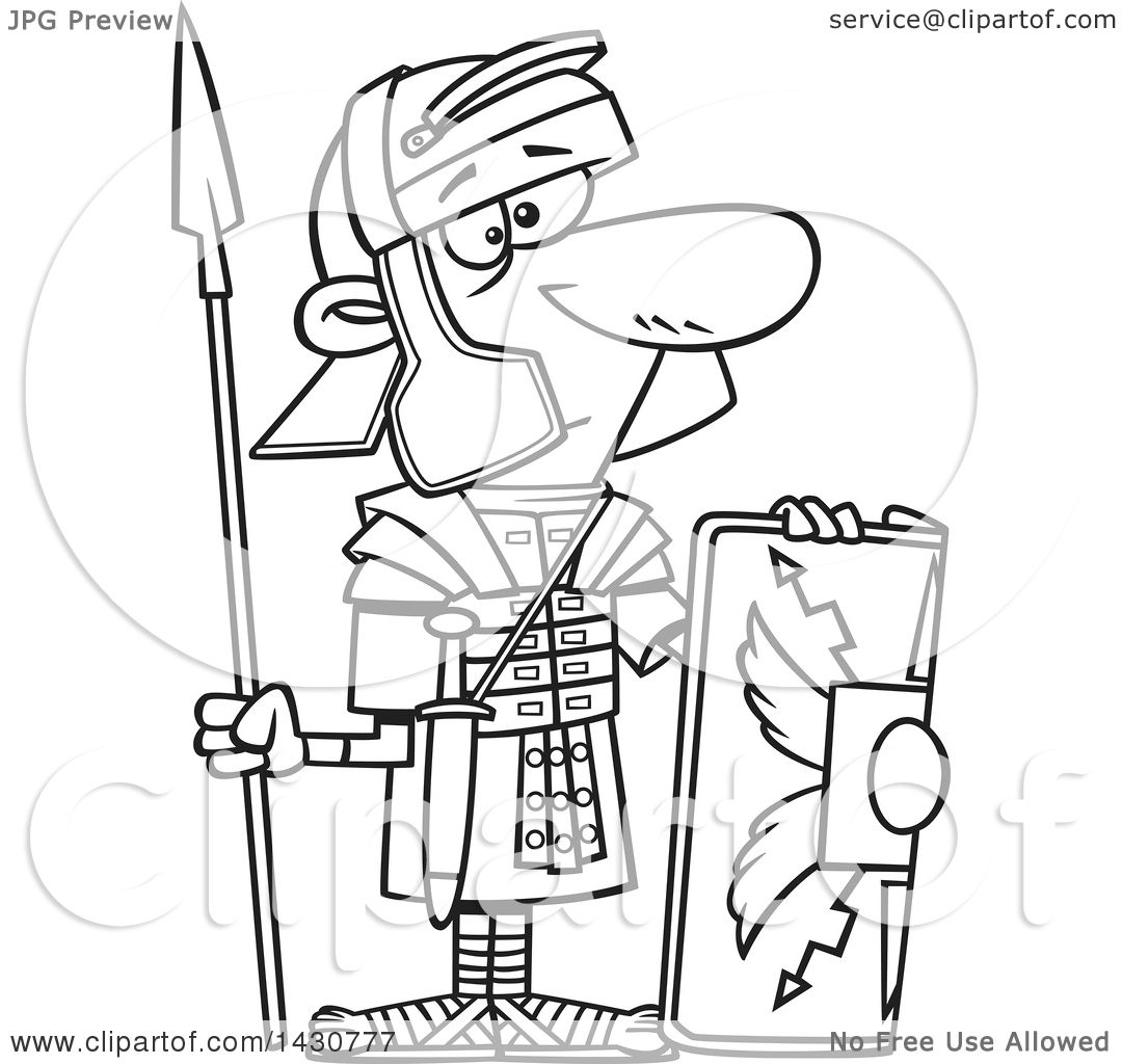 1080x1024 Clipart Of Cartoon Blacknd White Lineart Roman Soldier