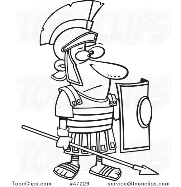 581x600 Black White Cartoon Roman Soldier Standing With A Spear