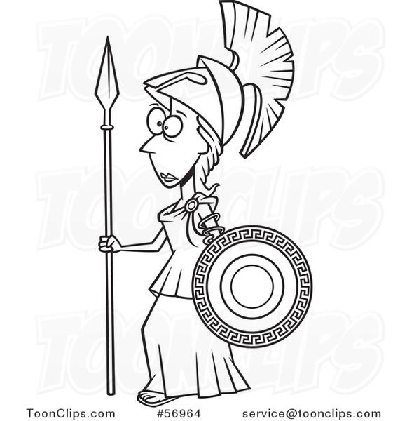 581x600 Cartoon Outline Roman Goddess Of War, Athena, Holding A Shield