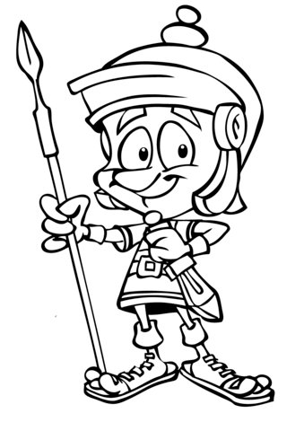 339x480 Cartoon Roman Soldier With Spear Coloring Page Free Printable