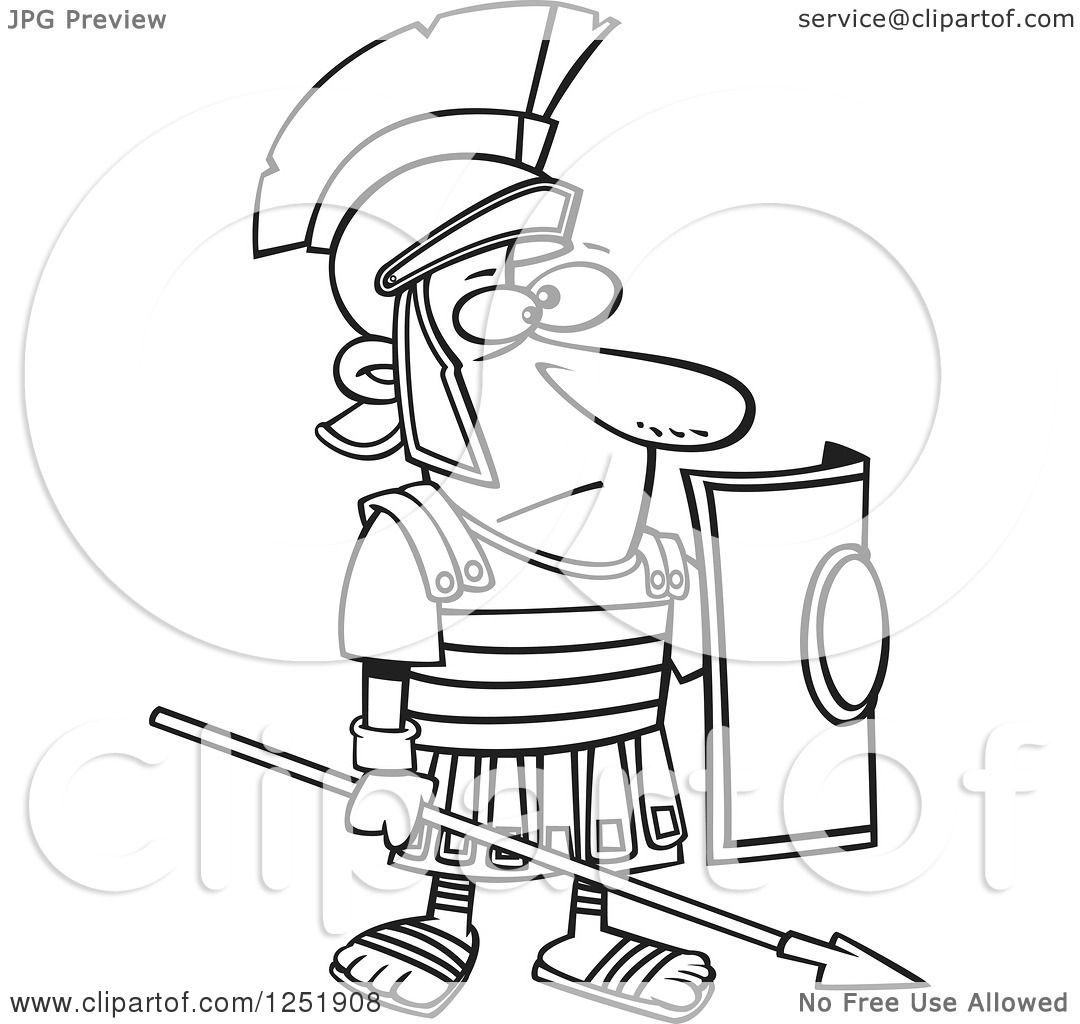 1080x1024 Clipart Of Blacknd White Cartoon Roman Soldier Standing