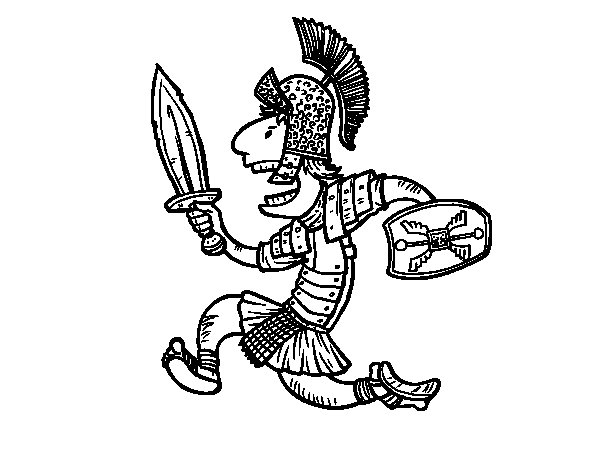 600x470 Roman Soldier Attacking Coloring Page