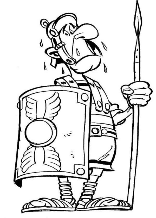 600x840 Terrified Roman Soldier In The Adventure Of Asterix Coloring Page