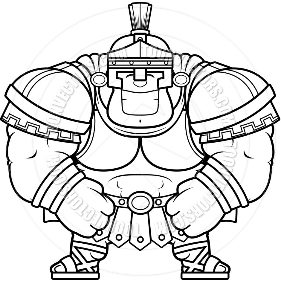 940x940 Cartoon Roman Centurion Smiling (Black And White Line Art) By Cory