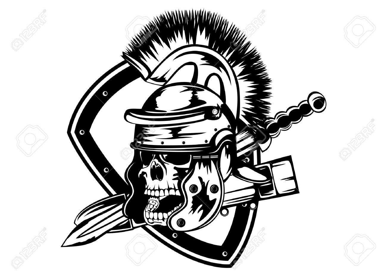 1300x929 Illustration Skull In Legionary Helmet And Sword Royalty Free