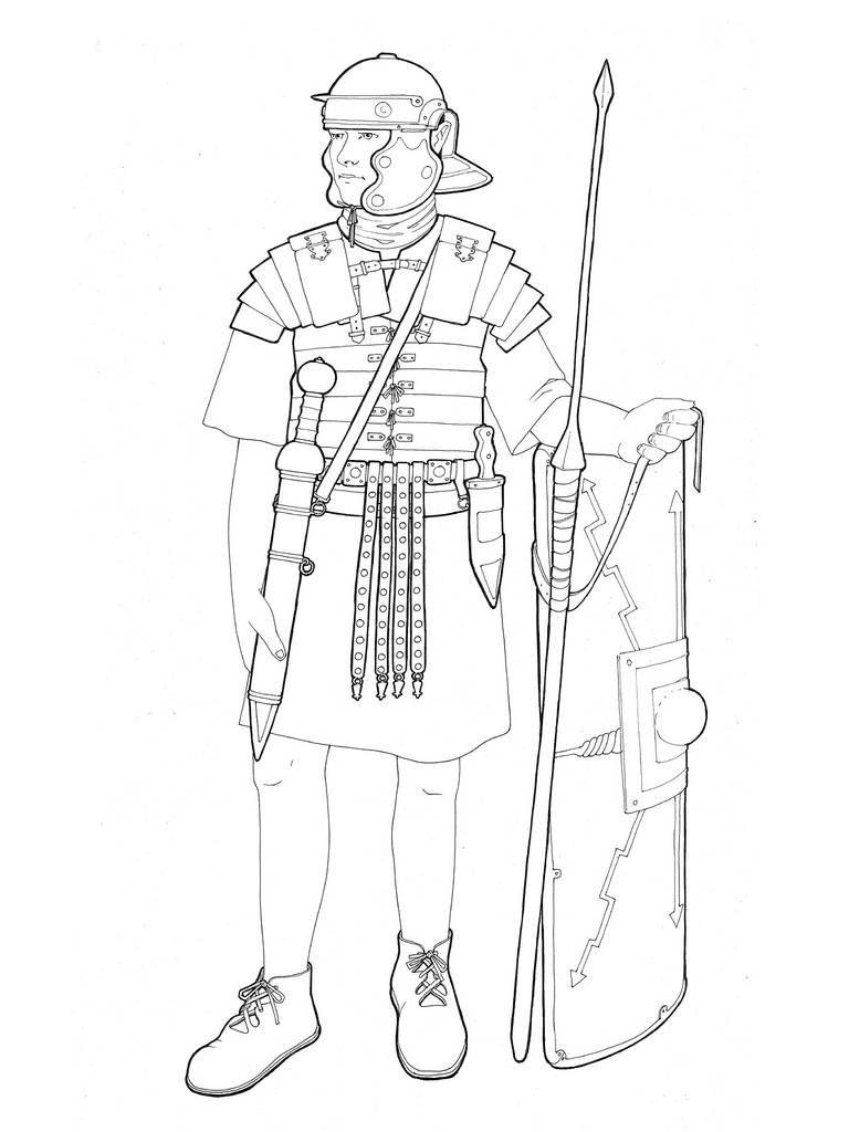768x1024 Roman Legionary Line Drawing Emphasising The Equipment Jh Cook