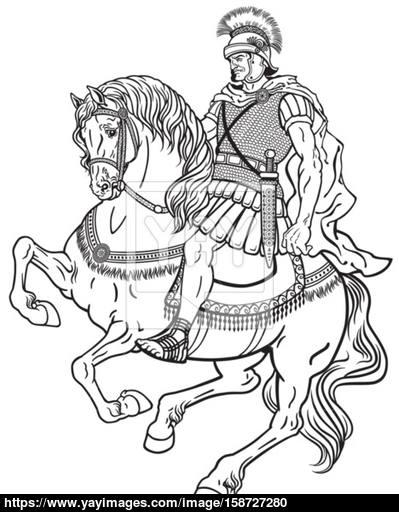 399x512 Roman Warrior On The Horse Vector