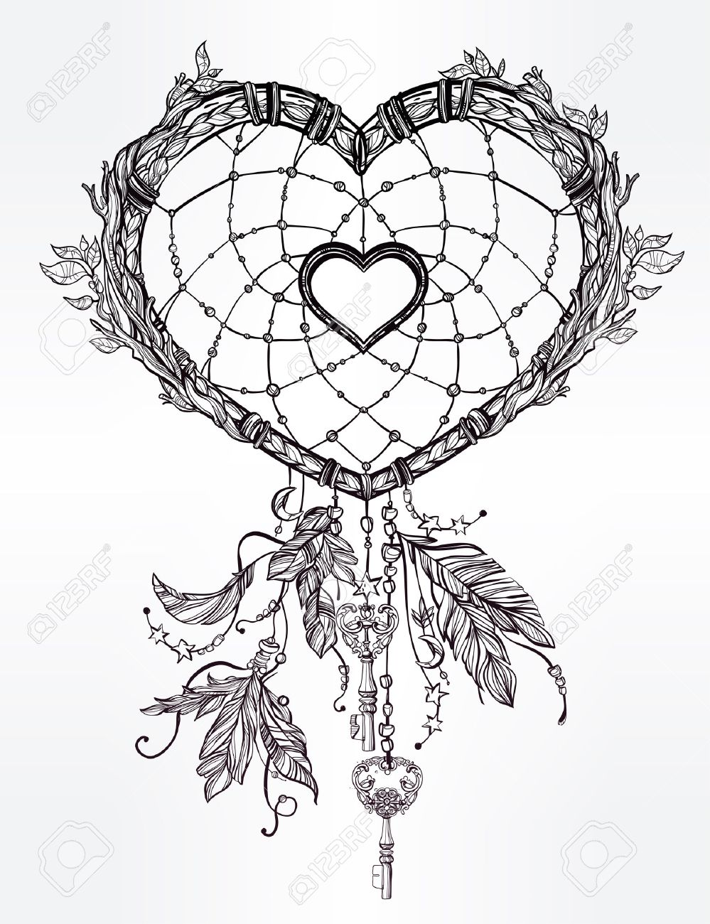 999x1300 Hand Drawn Romantic Drawing Of A Heart Shaped Dream Catcher