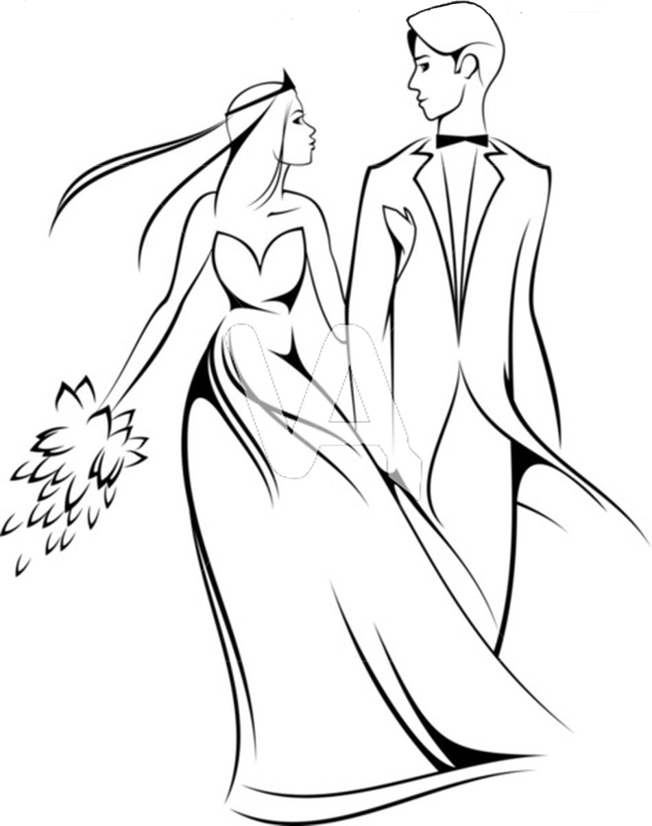 951x1205 Stylish Bride Groom Line Drawing Party Exterior With Bride
