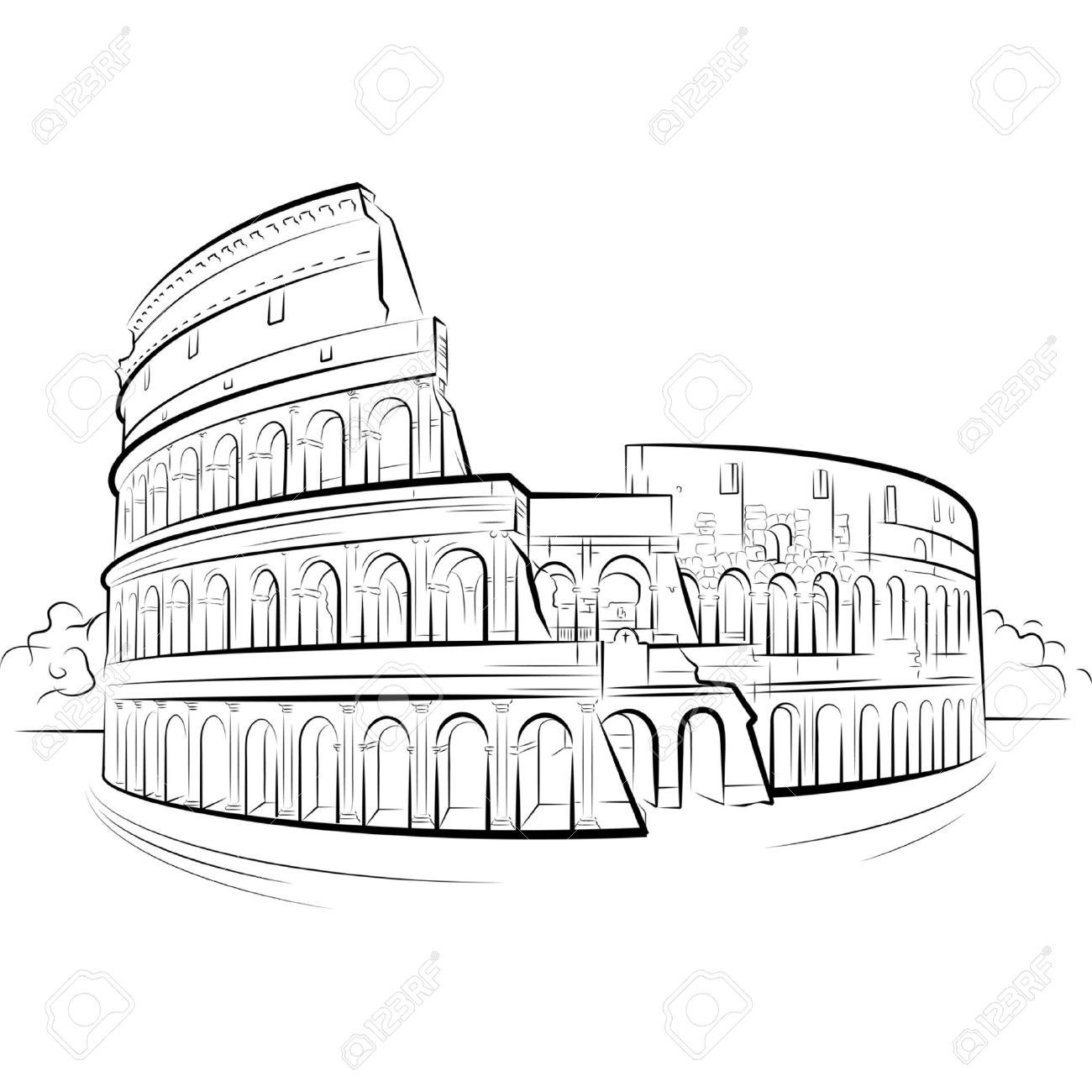 1300x1300 Colosseum Italy Drawing Elegant Drawing Colosseum Rome Italy
