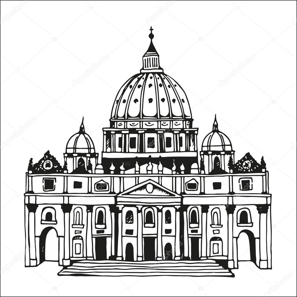 1024x1024 Hand Drawn St. Peter's Basilica, Vatican, Rome, Italy Stock