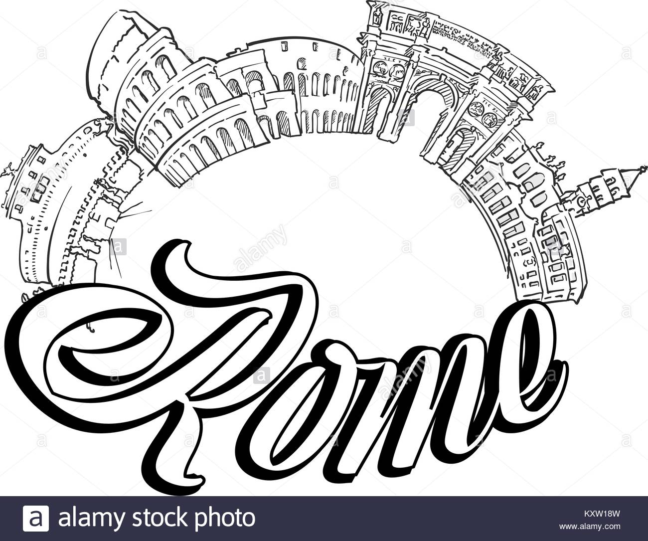 1300x1085 Rome Italy Skyline Cut Out Stock Images Amp Pictures