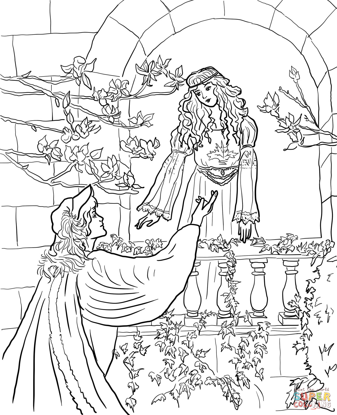 1297x1600 Romeo Say to Juliet on the Balcony Super Coloring RomeoampJuliet