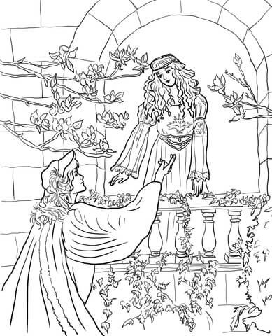 389x480 Romeo Say To Juliet On The Balcony Coloring Page From Romeo