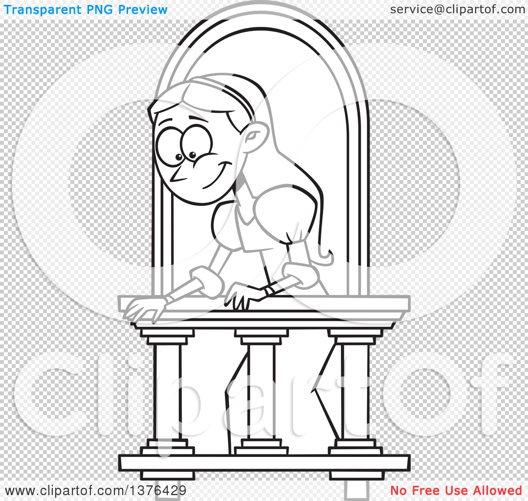1080x1024 Clipart Of A Cartoon Black And White Woman On A Balcony, Playing