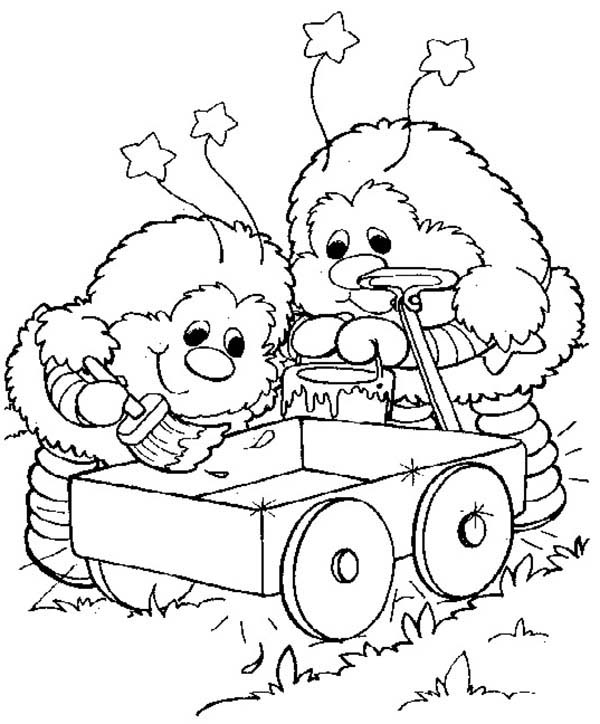 600x724 Twink And Romeo Cart Painting In Rainbow Brite Coloring Page