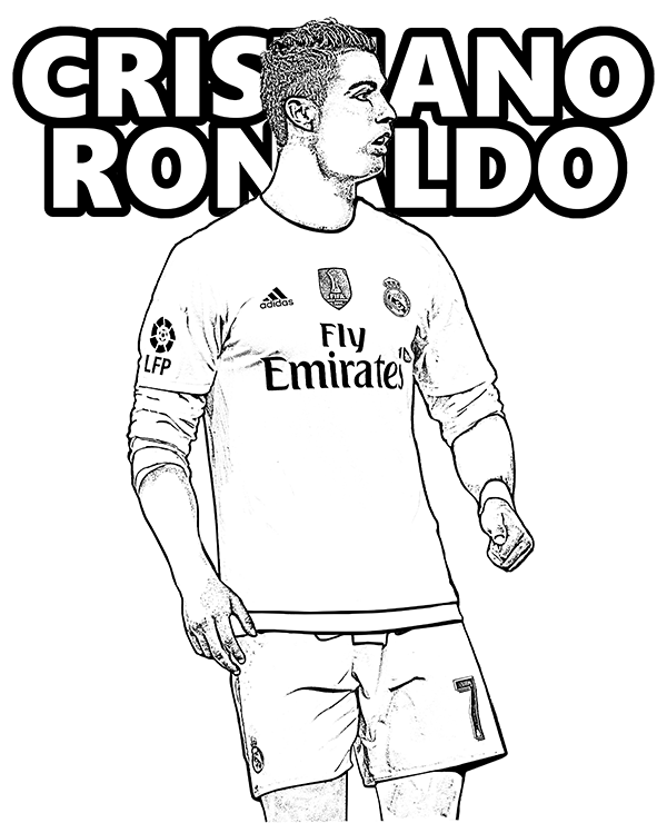 600x740 Free Coloring Page Cristiano Ronaldo, Portugal, Real Madrid