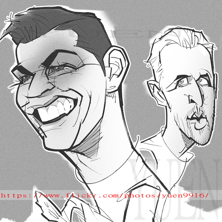 727x726 Cristiano Ronaldo , Harry Kane Comic Portrait Sketch