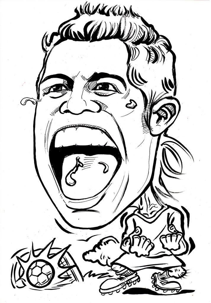 713x1024 Caricature Cristiano Ronaldo Ink Outline