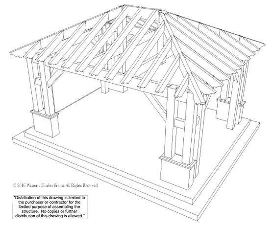 559x464 22'X24' Hip Roof Pavilion W Integrated Self Contained Power