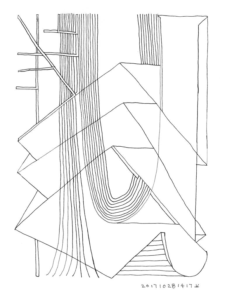 770x1027 Saatchi Art Roof Structure In Forest (Mind Forms Line Art