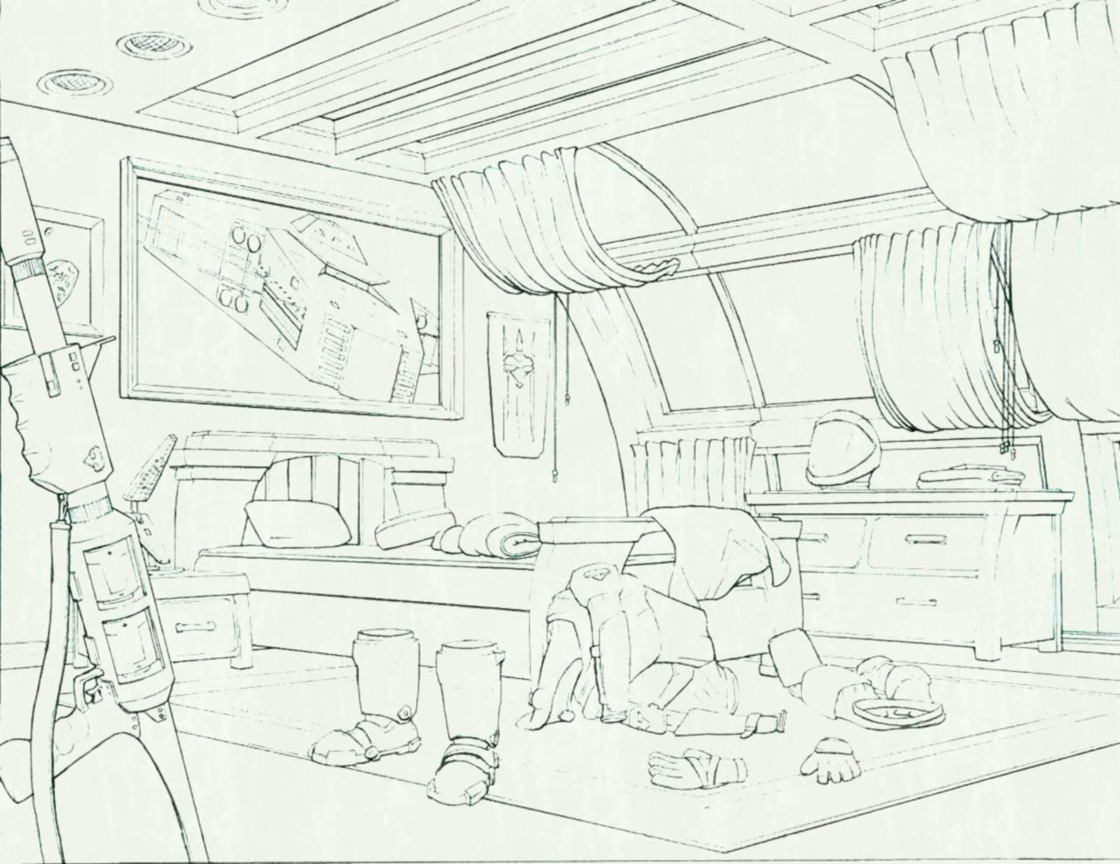 1264x976 Drawn Bedroom Basic Interior Design Pencil And In Color Room