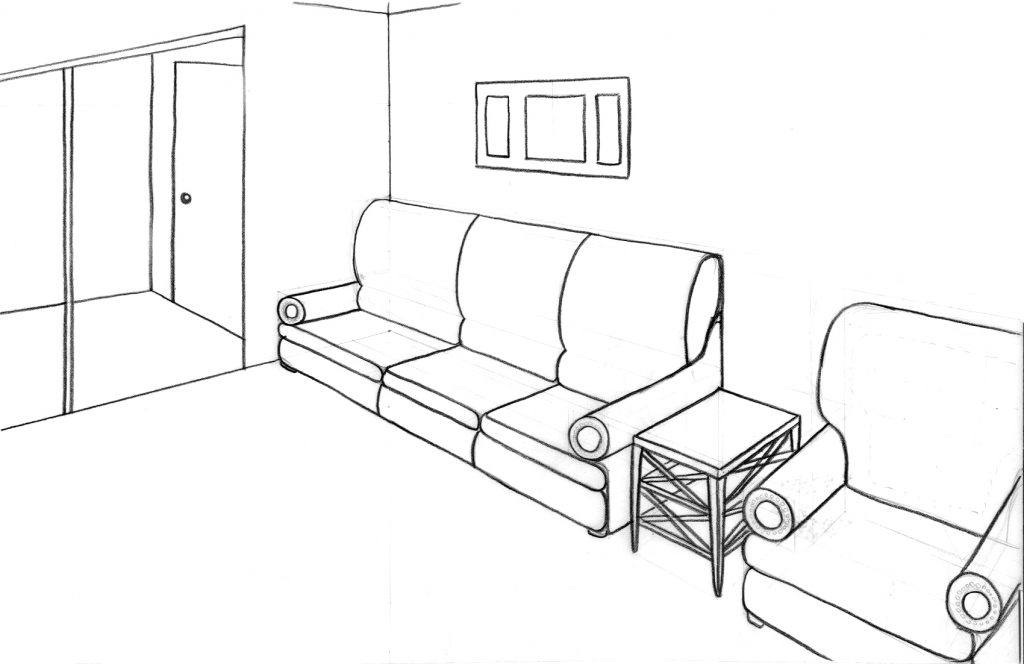 1024x664 Living Room Drawing Of Living Room Point Perspective Interior