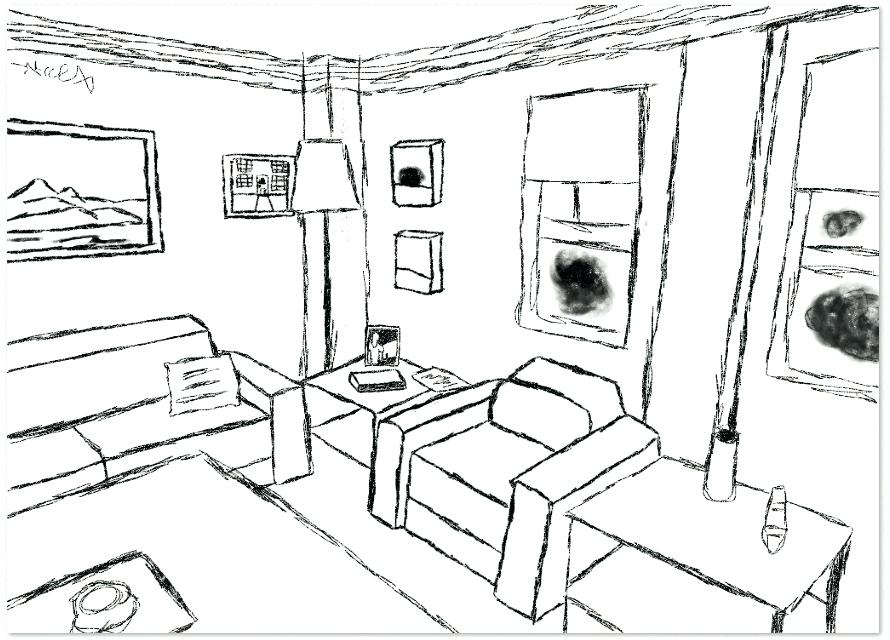 890x640 Living Room Draw The Living Room Living Room Drawing Picture