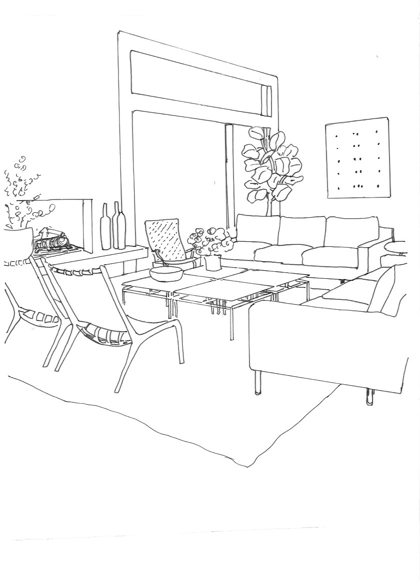 Line Drawing Room : Living room drawing at getdrawings free for personal