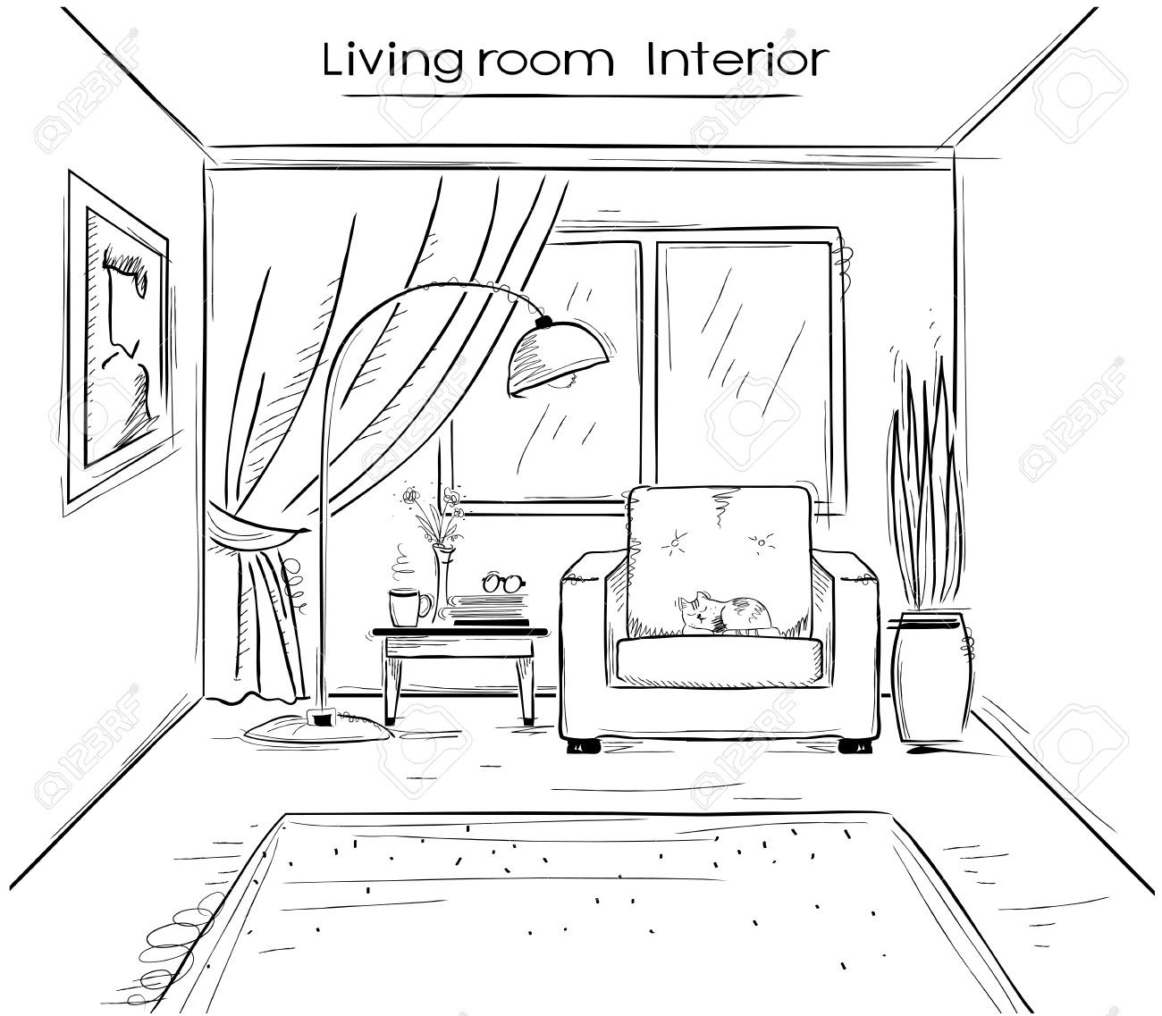 1300x1137 Drawing Of Living Room