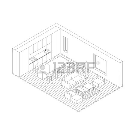 450x450 Interior Isometric Vector Rooms. Line Drawings Of Living Room