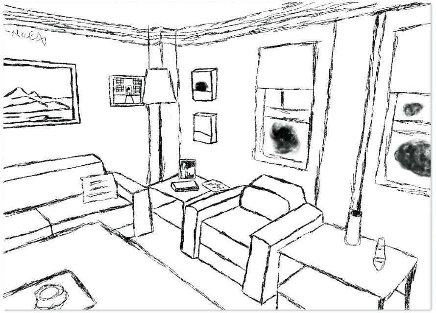 890x640 Line Drawing Living Room