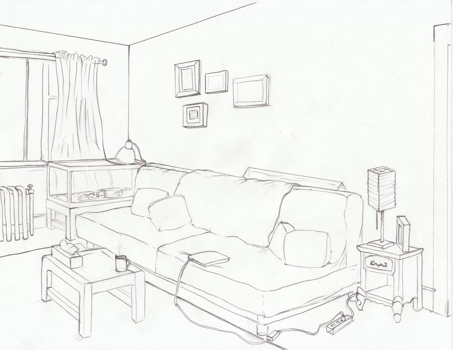 900x694 Line Drawing Of Living Room
