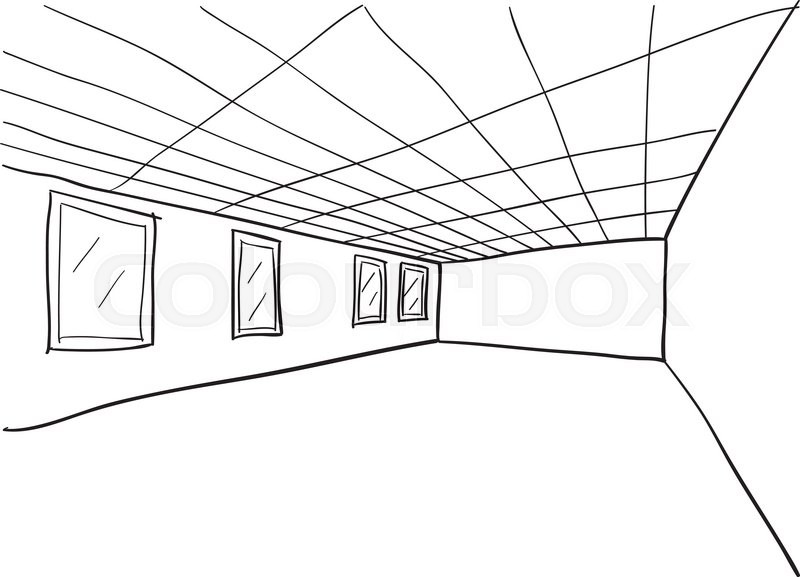 800x577 Simple Room Perspective Doodle Sketch Stock Vector Colourbox