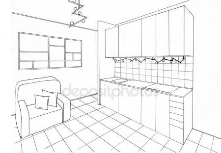 450x312 Modern Room Interior. Graphical Sketch Of Living Room